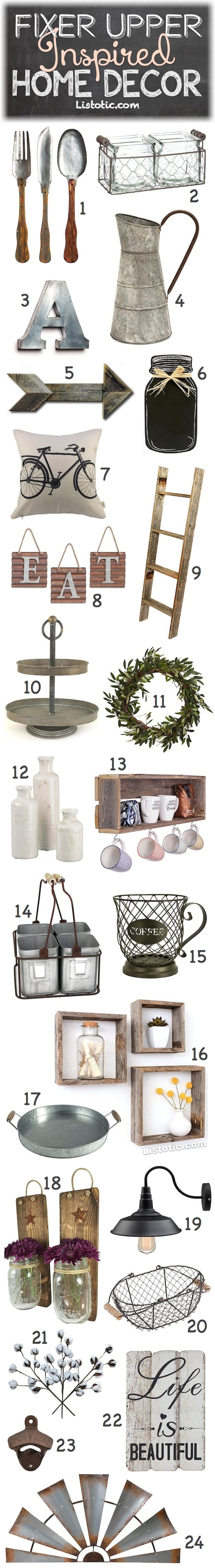 Fixer Upper Home Decor Ideas and products for your living room, kitchen, bathrooms, bedrooms or any room of the house! Farmhouse decor on a budget. Listotic.com