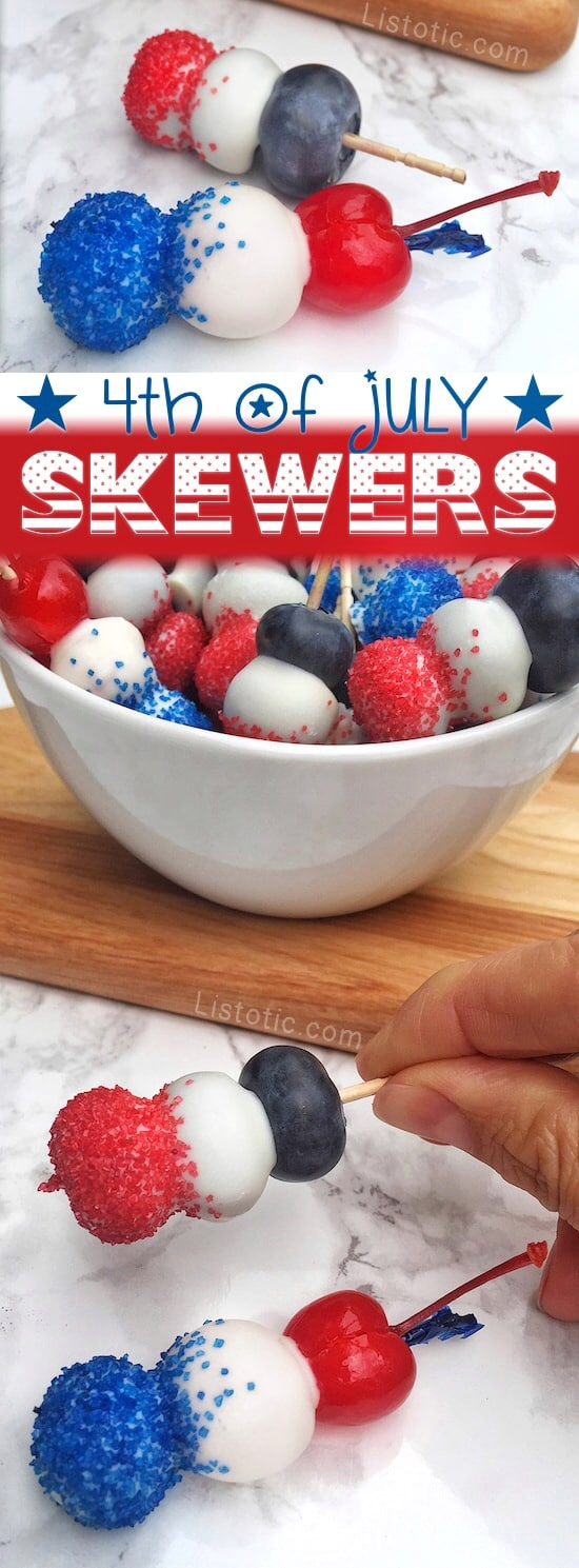 Isn't this the cutest 4th of July party food idea!? Mini fruit and chocolate patriotic skewers (also perfect for memorial day). Such a cute treat or even appetizer. | Listotic.com