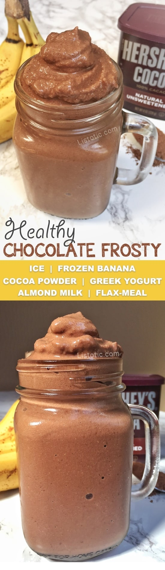 Healthy chocolate frosty ice cream recipe that tastes just like Wendy's! My kids love this thick milkshake/soft serve and have no idea that it's actually a healthy snack! Listotic.com