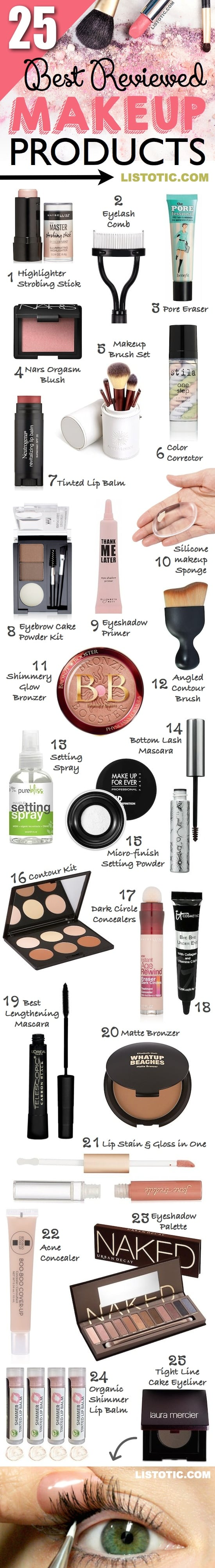 BEAUTY: The 25 best must-have makeup products for beginners and professionals! Everything from cheap to high end! Most of these can be found at drugstores or even Amazon! Makeup ideas, hacks and tips. | Listotic.com 2017