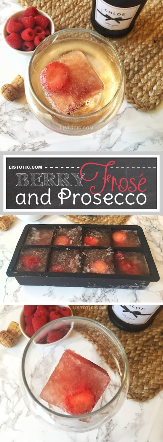 Easy Drink Recipe For A Party (alcoholic). These easy frozen Rosé cubes (also know as Frosé) are a complete game changer! They're the perfect, real simple solution for always having a cold drink recipe in the summer (they're perfect for chilling and flavoring a glass of Prosecco!). | Listotic.com