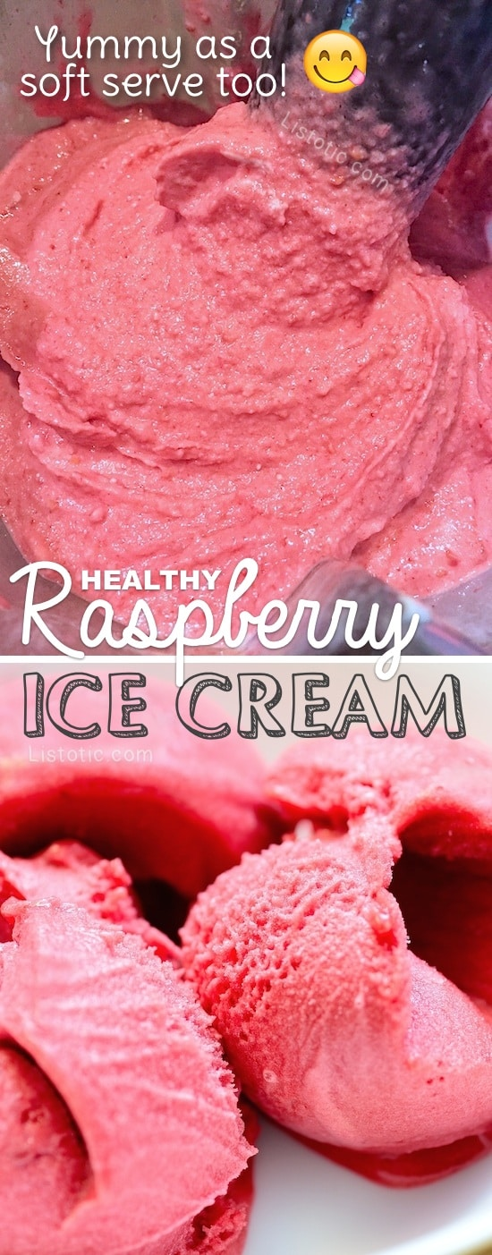Healthy Homemade Raspberry Soft Serve or Ice Cream Recipe -- my new favorite easy dessert! Made in the blender in less than 10 minutes. YUM! Listotic.com