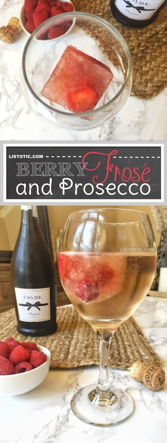 These easy frozen Rosé cubes (also know as Frosé) are a complete game changer! They're the perfect, real simple solution for always having a cold drink recipe in the summer (they're perfect for chilling and flavoring a glass of Prosecco!). | Listotic.com