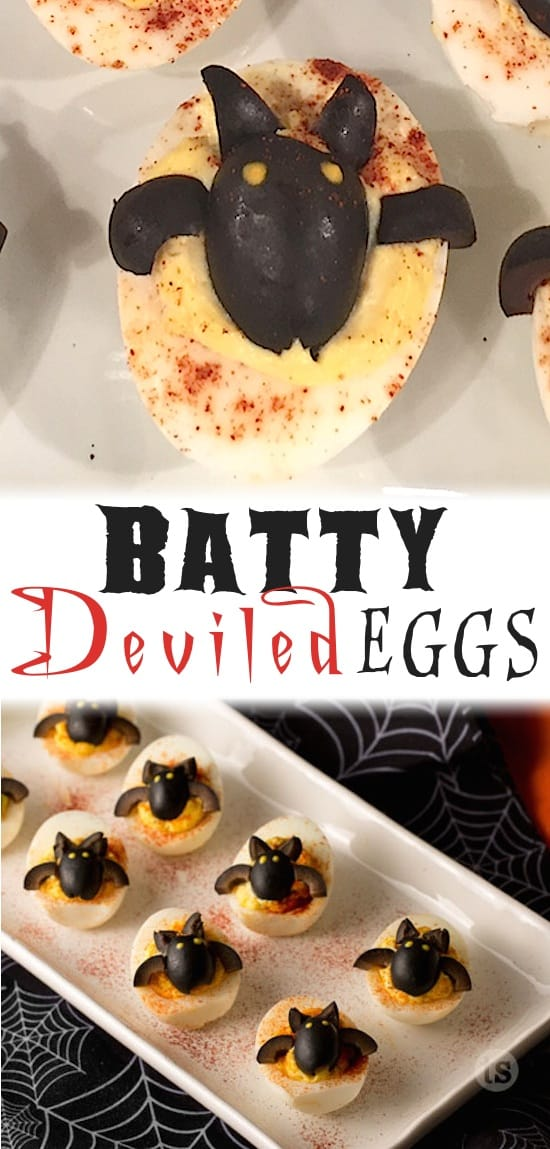 Bat Deviled Eggs Recipe -- Easy Halloween Food for kids and adults! A healthy Halloween appetizer that is sure to please! Easy to make with olives.