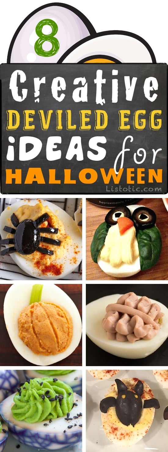 Easy Halloween Party Appetizer Ideas for kids and adults! Super creepy (yet cute) deviled egg recipes. Easy, healthy and delicious!