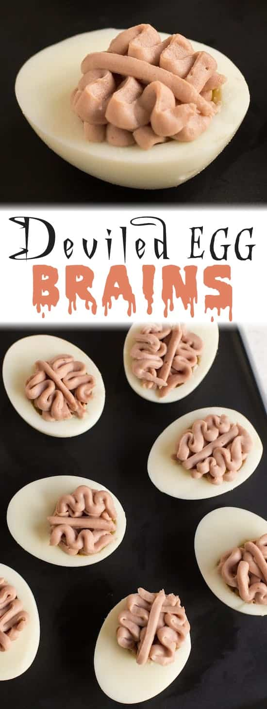 Deviled Egg Brains Recipe -- 8 scary Halloween party appetizer ideas for kids and adults! Easy, healthy and yummy!