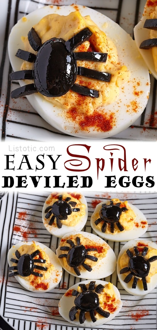 Easy Olive Spider Deviled Eggs -- 8 super creepy Halloween party appetizer ideas! Healthy and non-candy.