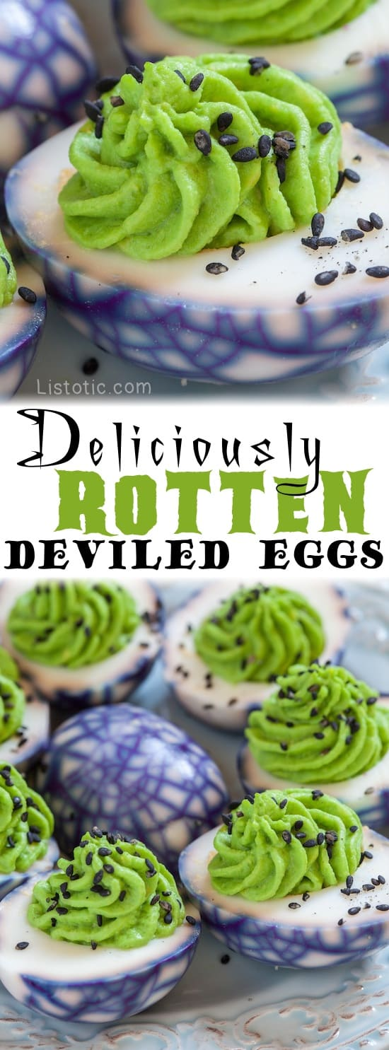 Spider Web Deviled Eggs Recipe -- the perfect party food for Halloween! Easy, healthy and delish! Both kids and adults love them.