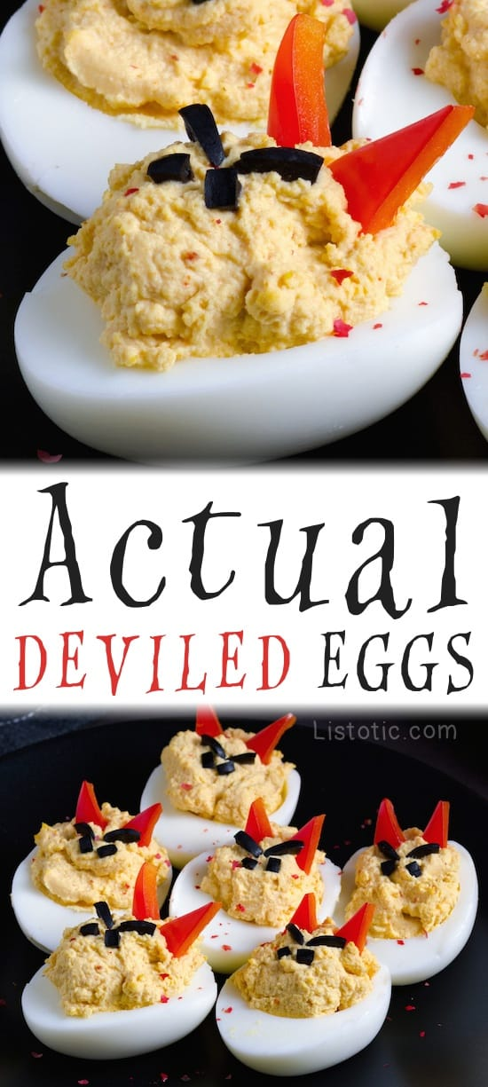 Devil Deviled Eggs Recipe -- Easy Creepy Halloween Food Idea for a party!