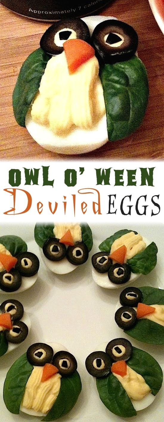 Owl Deviled Eggs Recipe - 8 Deviled Egg Ideas for Halloween or Thanksgiving. Super creative party food! A healthy, easy and non-candy party appetizer for Fall.