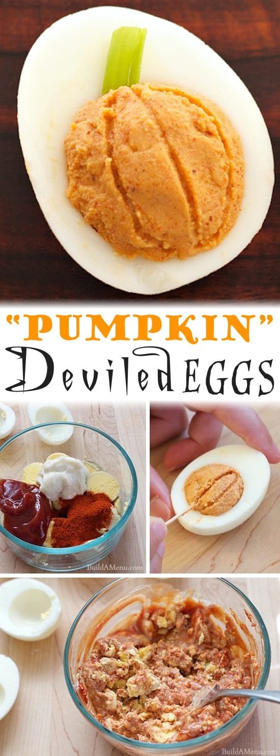 Easy Pumpkin Deviled Eggs Recipe -- the perfect party appetizer for Halloween or Thanksgiving! Easy, healthy and SO GOOD! I love Fall.