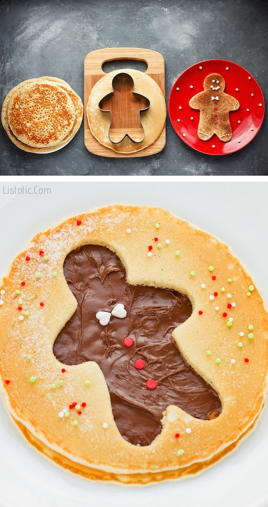 Cute And Easy Ginger Bread Man Pancakes (made with Nutella!) | Over 15 fun, cute and easy Christmas breakfast ideas for kids! These creative recipes are so simple and easy to make, but are sure to make Christmas morning extra special. Everything from pancakes to toast and oatmeal! Listotic.com