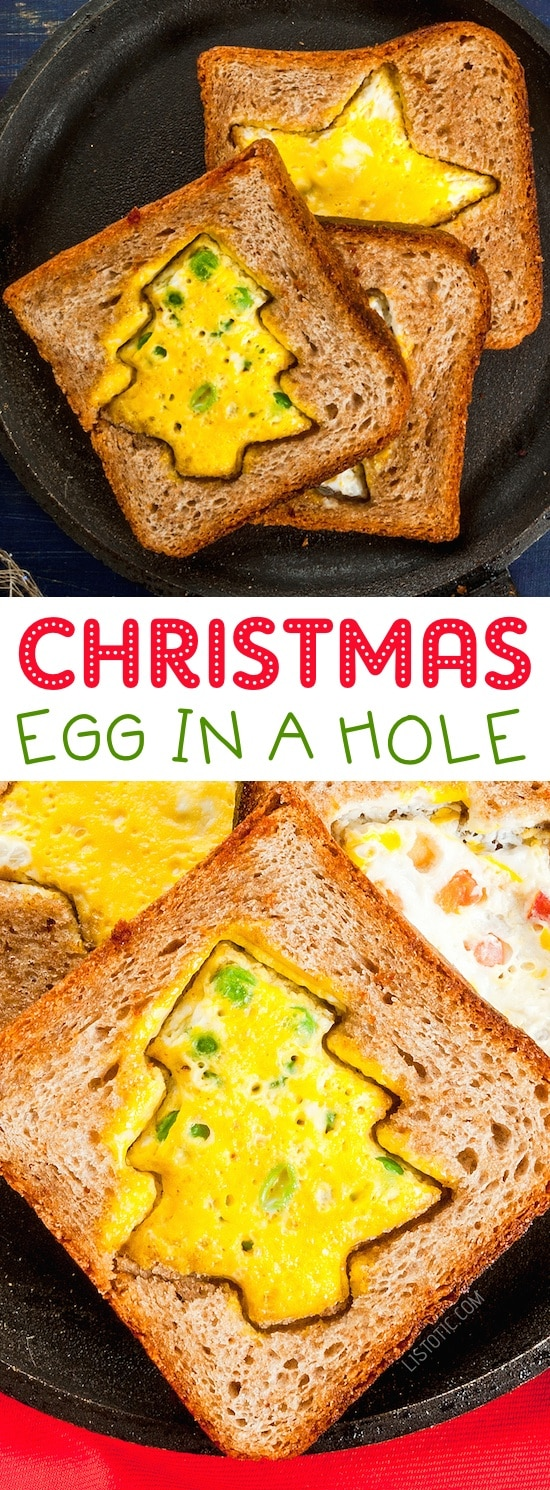 Christmas Egg-In-A-Hole Toast for Kids | Over 15 fun, cute and easy Christmas breakfast ideas for kids! These creative recipes are so simple and easy to make, but are sure to make Christmas morning extra special. Everything from pancakes to toast and oatmeal! Listotic.com