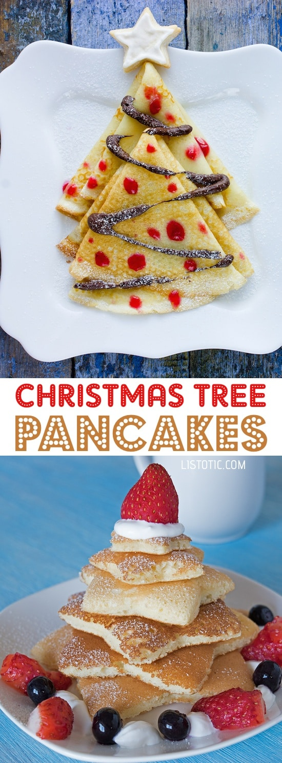 Easy Christmas Tree Pancakes For Kids | Over 15 fun, cute and easy Christmas breakfast ideas for kids! These creative recipes are so simple and easy to make, but are sure to make Christmas morning extra special. Everything from pancakes to toast and oatmeal! Listotic.com