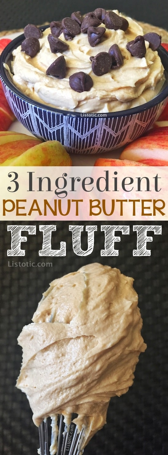 Easy, Healthy, 3 Ingredient Peanut Butter Fruit Dip Recipe made with greek yogurt, peanut butter and honey. It's also the perfect after school snack for the kids. Easy No-Bake Peanut Butter Dessert and protein snack (great for weightloss!) Listotic.com