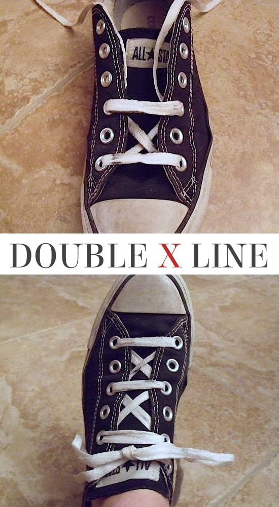 Double X Line | 5 Fun and creative ways to tie your shoes! How to tie your shoelaces cool with these easy lacing techniques.
