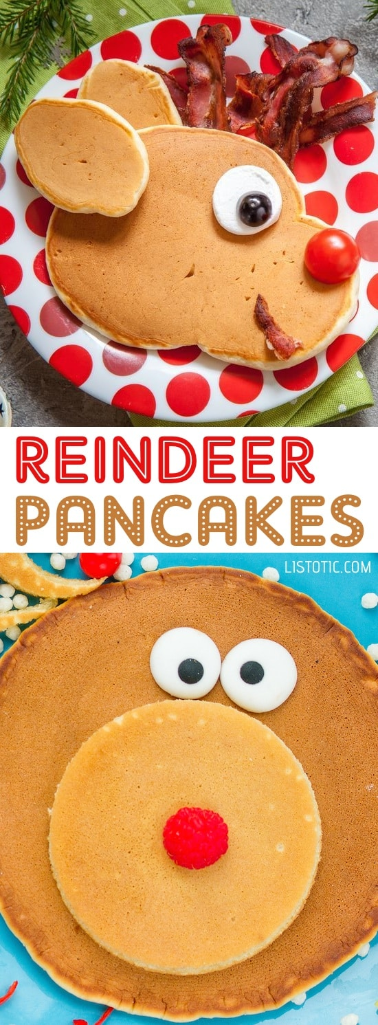 Easy Reindeer Pancakes For Kids on Christmas Morning | Over 15 fun, cute and easy Christmas breakfast ideas for kids! These creative recipes are so simple and easy to make, but are sure to make Christmas morning extra special. Everything from pancakes to toast and oatmeal! Listotic.com
