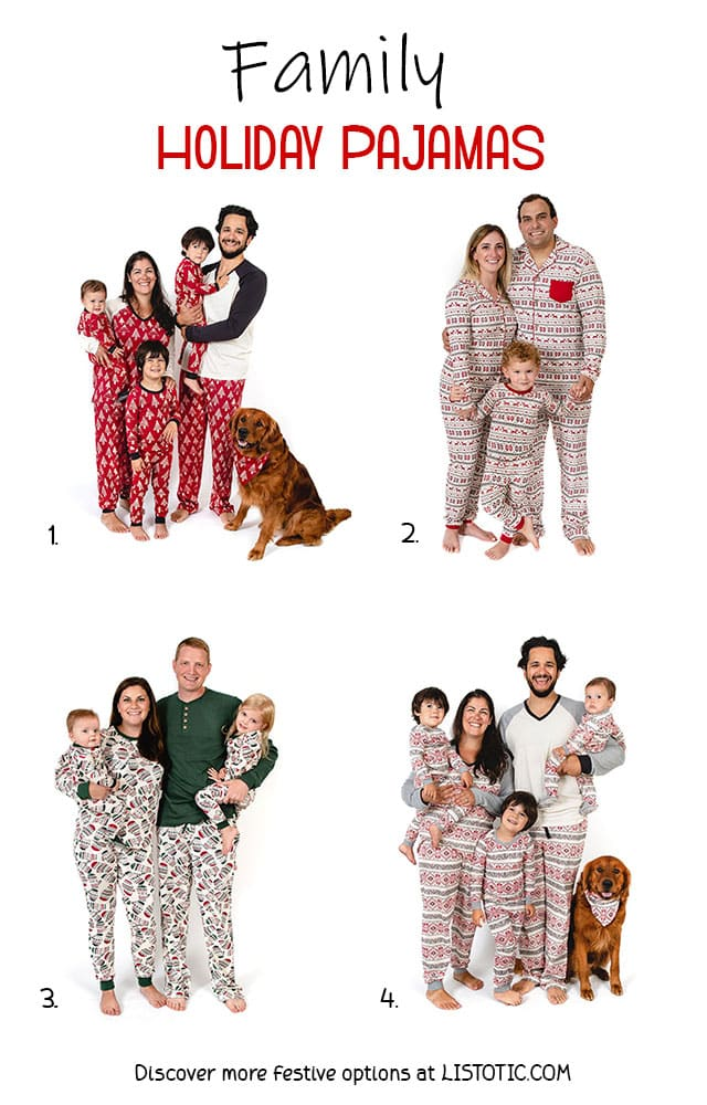 Four festive family holiday pajama options for Mom, Dad, kids, babies and dogs to match.