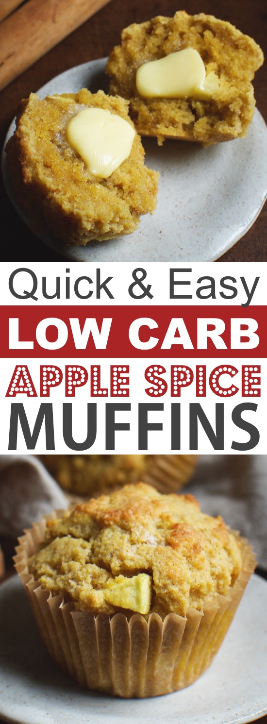 Low Carb Apple Muffins Made With Almond Flour | These quick and easy low carb keto muffins are perfect for breakfast, snacks and on the go! They're all high in protein, and most of them are made with almond flour or coconut flour-- healthy, sugar free, gluten free and delicious! Listotic.com