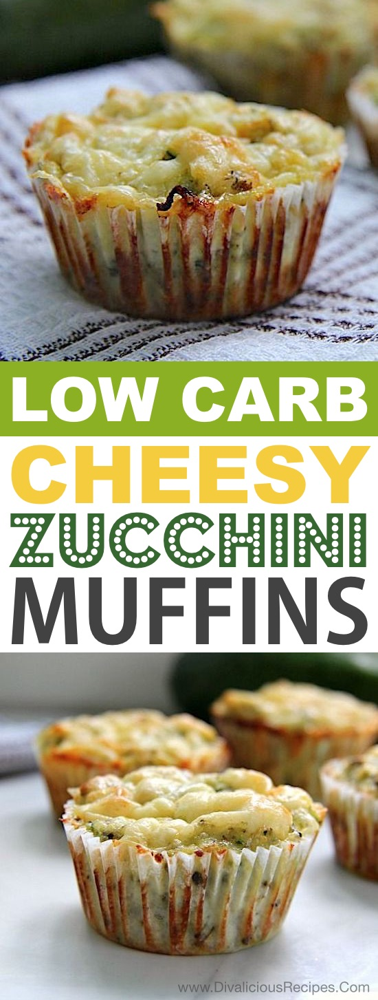 Low Carb Cheesy Zucchini Muffins | These quick and easy low carb keto muffins are perfect for breakfast, snacks and on the go! They're all high in protein, and most of them are made with almond flour or coconut flour-- healthy, sugar free, gluten free and delicious! Listotic.com