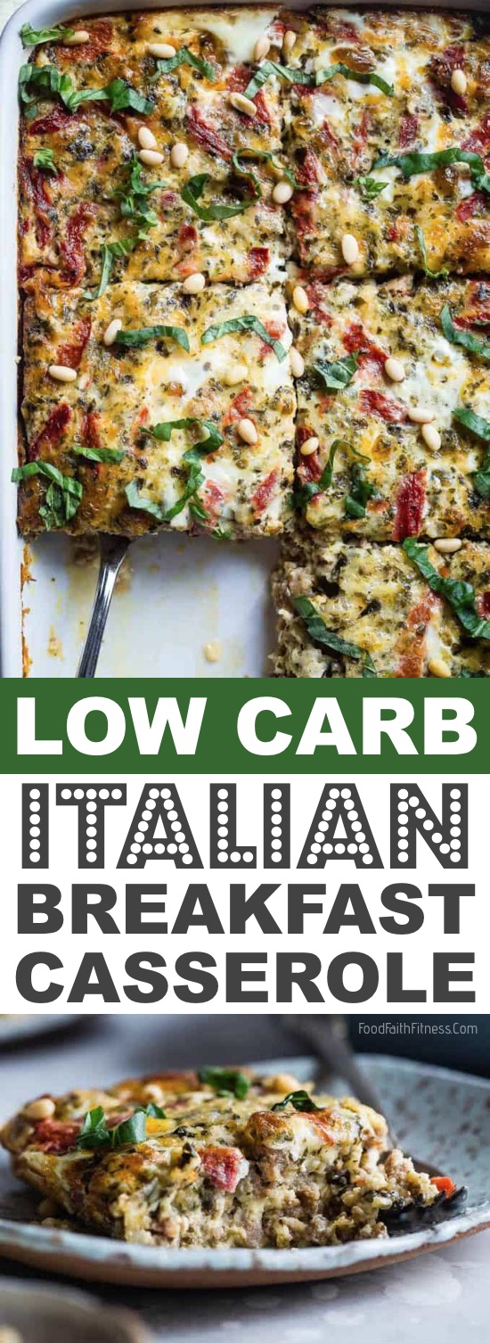Keto Low Carb Italian Breakfast Casserole | These easy low carb and keto breakfast recipe ideas are perfect to make ahead of time, and simply grab for on the go! Meal prep can be a life saver! Eating healthy has never been so easy with these time-saving tips and tricks. Everything from casseroles to muffins! They're perfect for a ketogenic diet. Listotic.com
