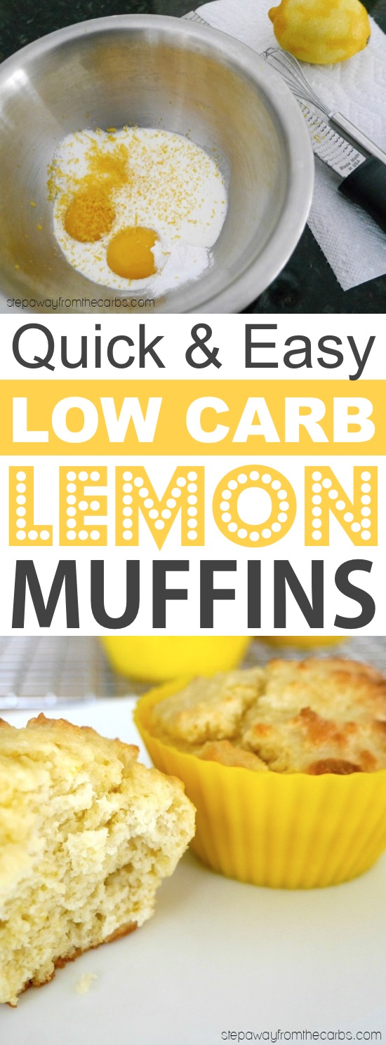 Low Carb Lemon Muffins Made With Almond Flour | These quick and easy low carb keto muffins are perfect for breakfast, snacks and on the go! They're all high in protein, and most of them are made with almond flour or coconut flour-- healthy, sugar free, gluten free and delicious! Listotic.com