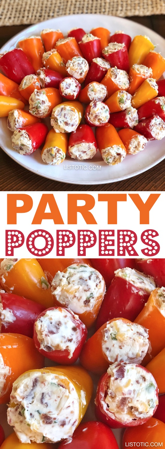 Party Poppers (stuffed mini peppers recipe) | This easy make ahead appetizer for a party is the perfect finger food for a crowd! It's also low carb and gluten free! The combination of cream cheese, bacon and jalapeño's is absolutely awesome. Great for 4th of July or any holiday party! Listotic.com