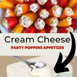 appetizer with mini peppers and cream cheese on a plate, ingredient of cream cheese shown below