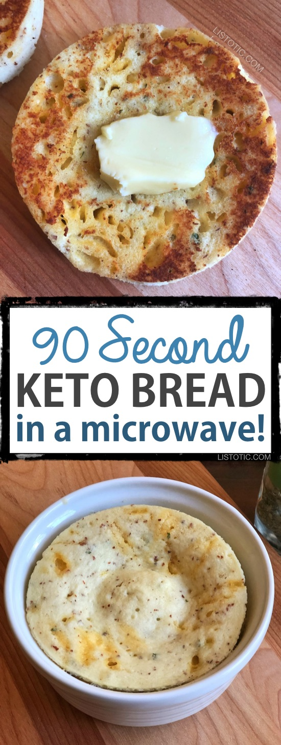This Keto bread is quick, easy and low carb! The recipe calls for both almond flour and coconut flour giving it the best texture and taste yet. It bakes up in just a few minutes in your microwave, and is versatile enough to use as a biscuit, toast, english muffin or sandwich bread! #keto #lowcarb | Listotic.com