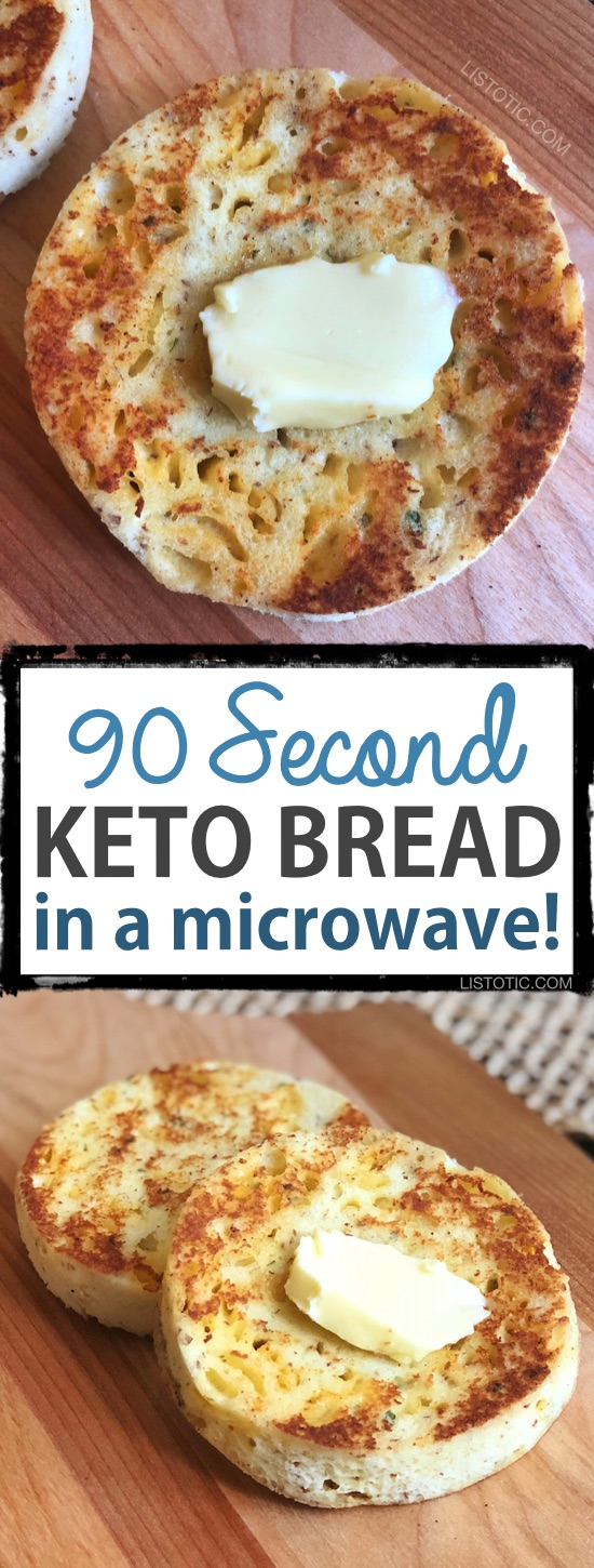 This Keto bread is quick, easy and low carb! The recipe calls for both almond flour and coconut flour giving it the best texture and taste yet. It bakes up in just a few minutes in your microwave, and is versatile enough to use as a biscuit, toast, english muffin or sandwich bread! Listotic.com