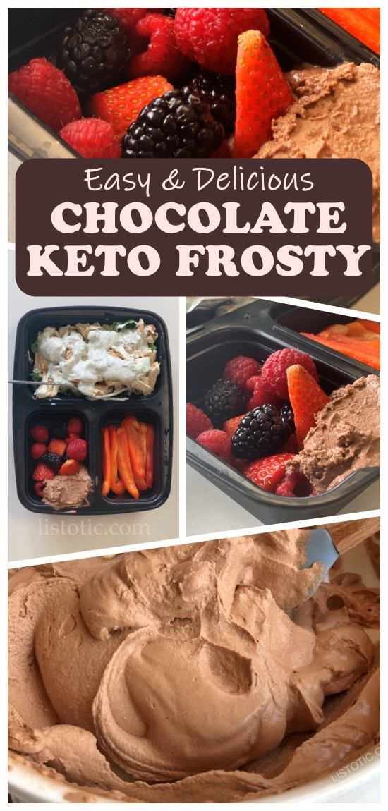Low carb keto lunch example with Keto Chocolate Frosty, berries, peppers and chicken breast.