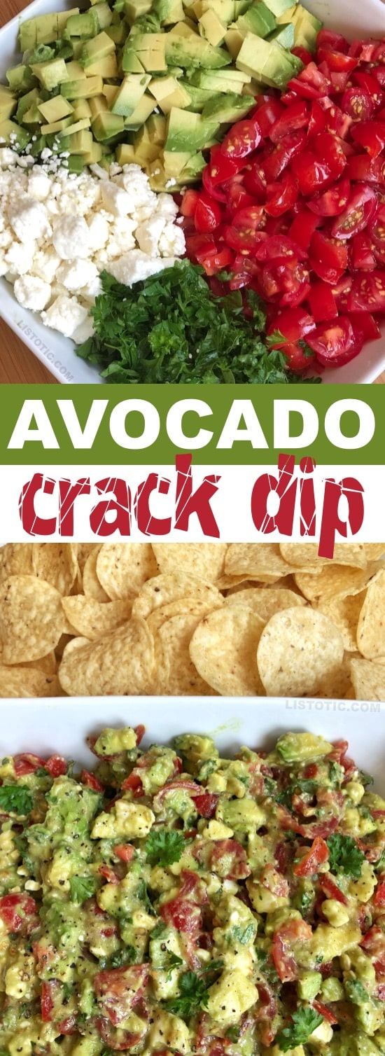 This quick and easy avocado dip recipe is the BEST make ahead dip you will ever make! Serve it up with chips for a simple finger food everyone will love. It's made with avocados, tomatoes, feta and parsley. It's like guacamole but way better! | Listotic.com
