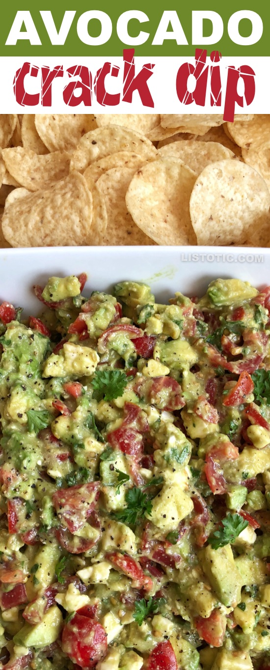 This easy party appetizer is the BEST make ahead dip you will ever make! Serve it up with chips for a simple finger food everyone will love. It's made with avocados, tomatoes, feta and parsley. It's like guacamole but way better! | Listotic.com