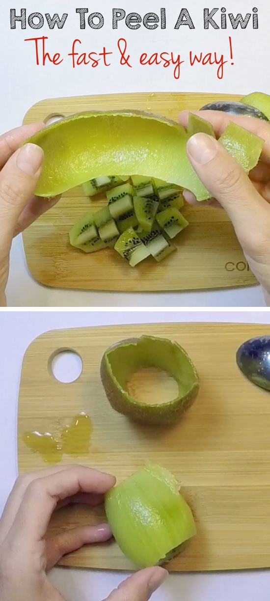 36 Ingenious Kitchen Tips and Tricks -- everyone should know this life hack! This is the fast and easy way to peel a kiwi.