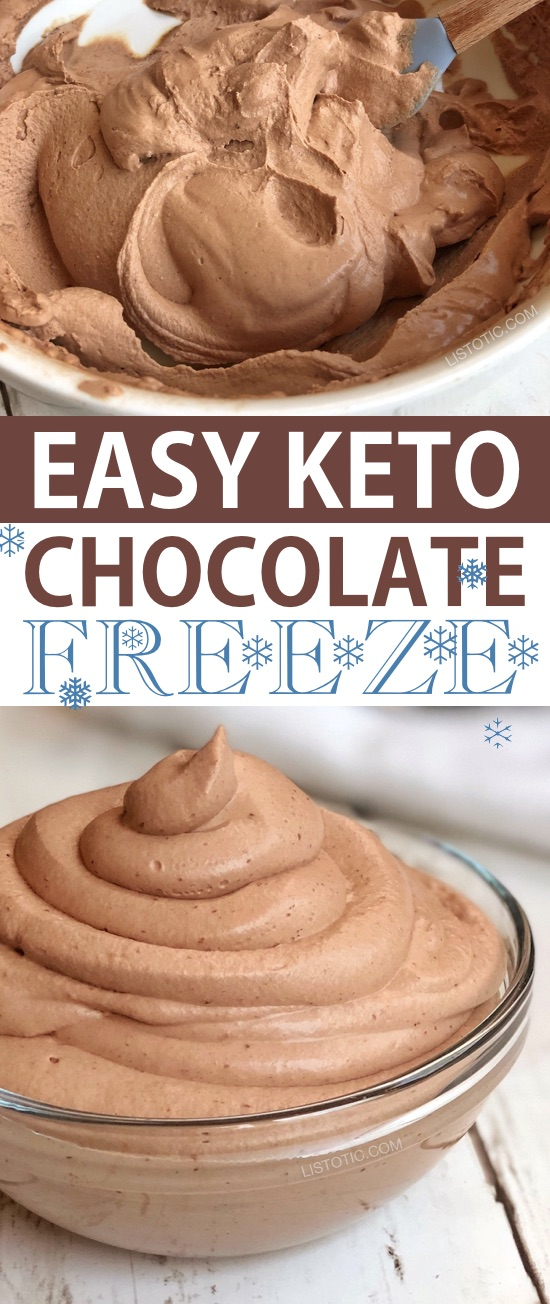 Easy Keto Chocolate Frosty (just like Wendy's) | This quick and easy low carb dessert recipe is my favorite keto treat so far! It's like a super thick shake, but better! Ketogenic diet and atkins approved. Listotic.com
