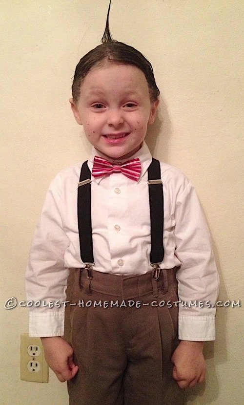 Cute toddler Alfalfa costume. Easy and quick with slicked up hair and overalls and bow tie.