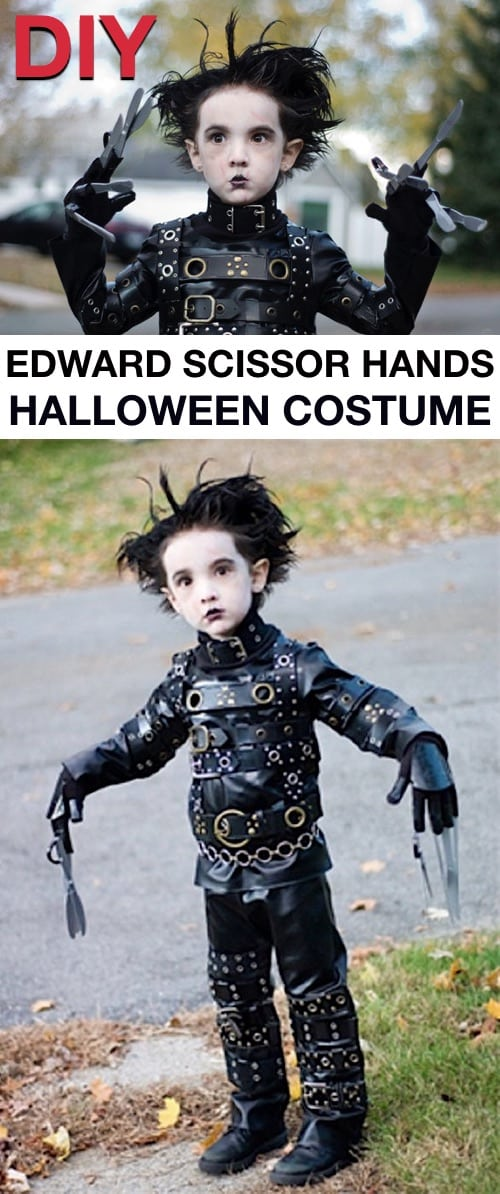 Homemade Edward Scissor Hands Costume-- child with white face, black pants and shirt with belts and plastic scissors.