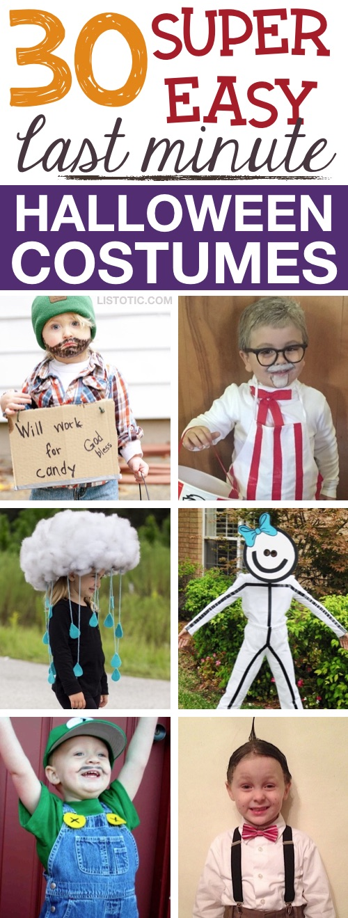 30 Easy DIY Halloween Costumes For Kids (boys and girls!). These ideas are quick and simple but super cute and funny. Great for families, siblings, toddlers and teens! Mostly no sew and last minute. | Listotic