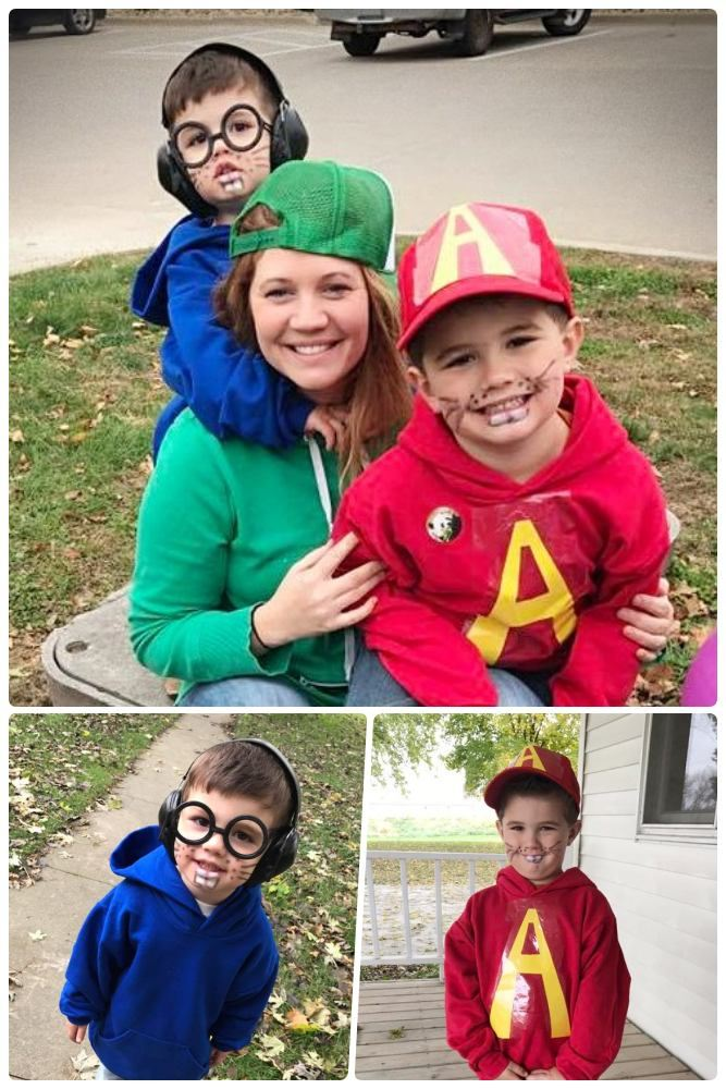 Mom and boys outdoors posing in DIY Halloween costume of blue, green and red hoodie sweatshirts to look like Alvin and the Chipmunks.