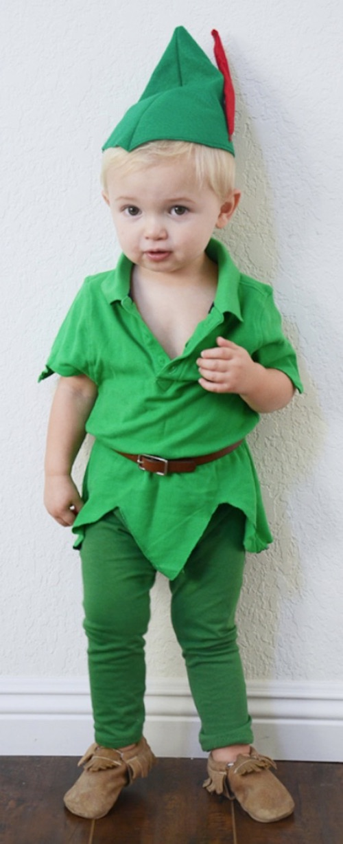30 Easy DIY Halloween Costumes For Kids (Boys and Girls!) | Homemade Peter Pan Costume-- super cute and fun for toddlers!