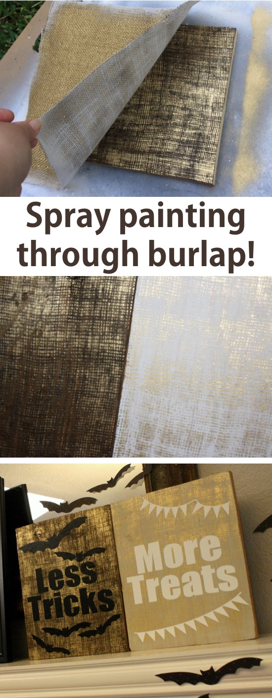 DIY spray paint canvas wall art using burlap! A huge list of DIY spray paint ideas here. | Listotic