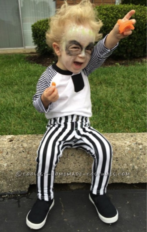 30 Easy DIY Halloween Costumes For Kids (Boys and Girls!) | Homemade Beetle Juice Costume-- so funny on kids!
