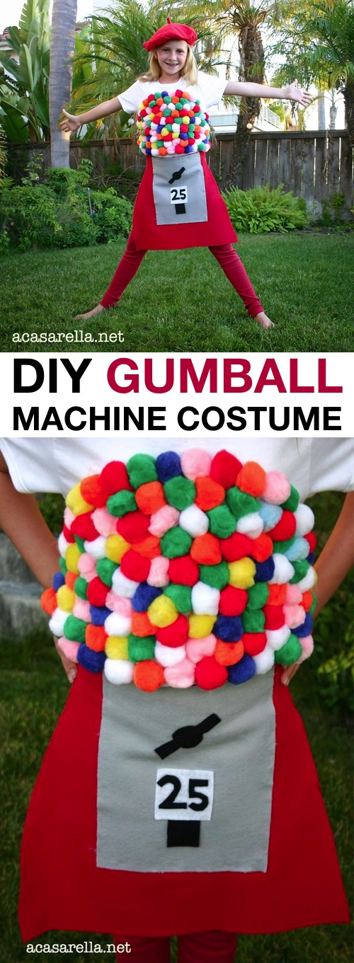 30 Easy DIY Halloween Costumes For Kids (Boys and Girls!) | Homemade GumBall Machine Costume-- great for teen girls!