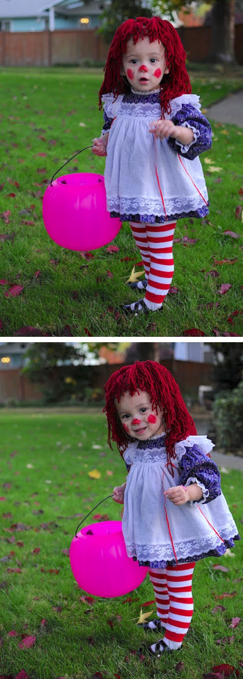 30 Easy DIY Halloween Costumes For Kids (Boys and Girls!) | DIY Raggedy Ann Costume-- cute for a baby or toddler!