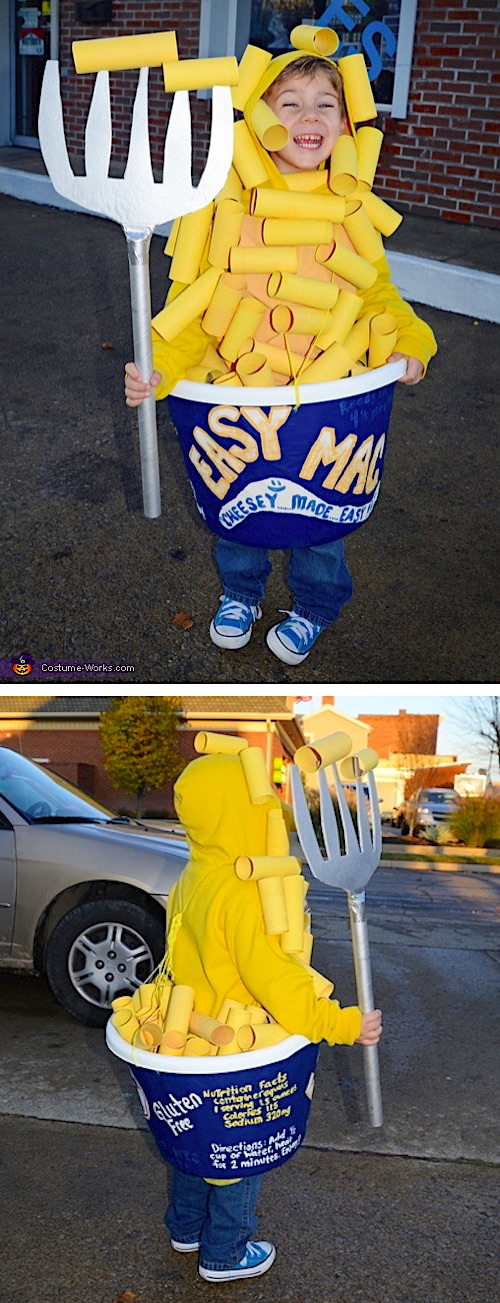 30 Easy DIY Halloween Costumes For Kids (Boys and Girls!) | Homemade Mac and Cheese Costume-- super funny and cute!