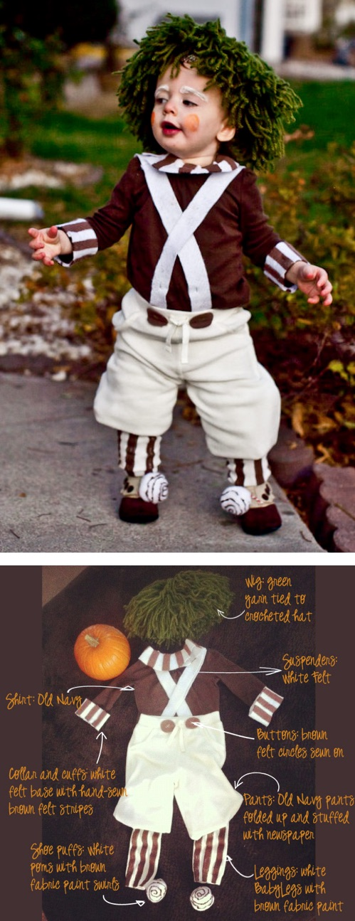 30 Easy DIY Halloween Costumes For Kids (Boys and Girls!) | Homemade Oompa Loompa Costume-- great idea for a baby or toddler!