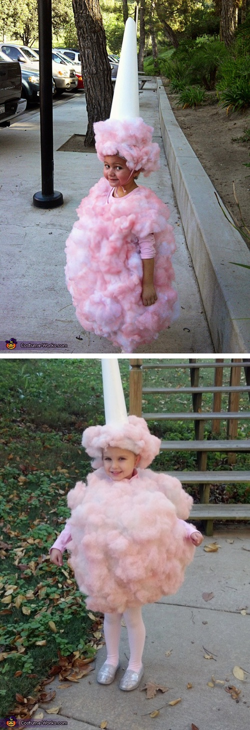 Homemade Cotton Candy Costume-- super cute and fun to make! Little girl with pink fluff dress and white cone hat to replicate cotton candy.