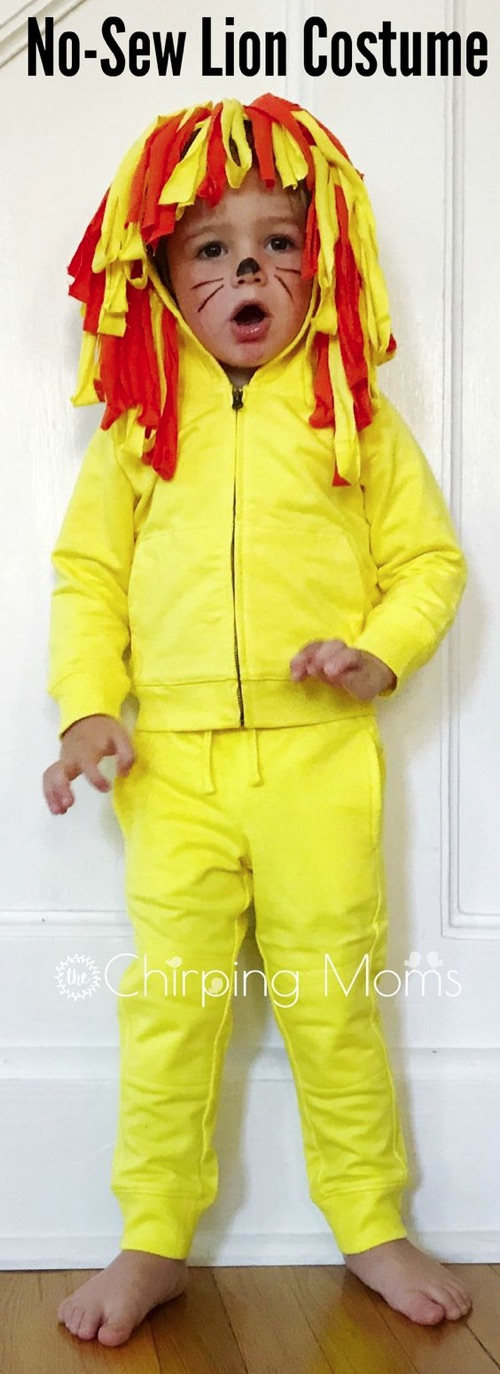 30 Easy DIY Halloween Costumes For Kids (Boys and Girls!) | Homemade Lion Costume-- No sew and super comfortable. Great for toddlers!