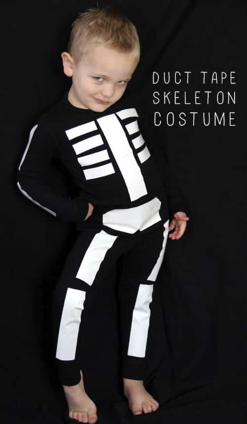 DIY last minute skeleton costume! Just use white duct tape on black sweats.