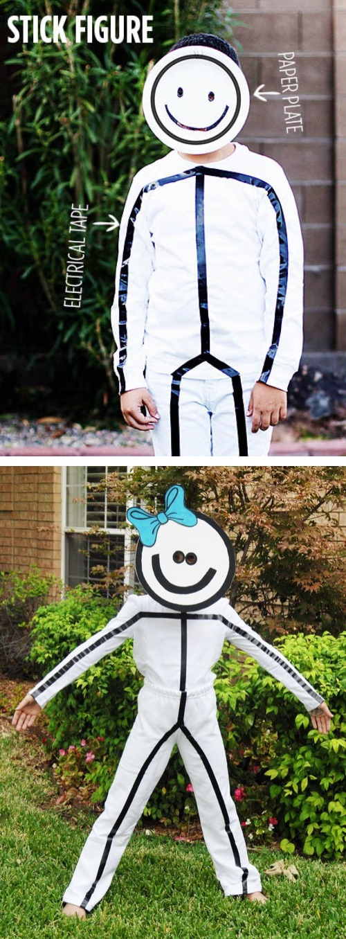 30 Easy DIY Halloween Costumes For Kids (Boys and Girls!) | Great last minute Halloween costume idea for teens! Easy stick figure costume made with electrical tape.